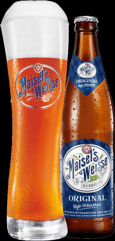 Bierglas und Flasche Maisel's Weisse Original